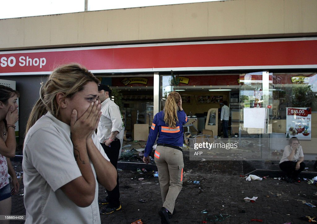 Employees of a looted gas station react in San Fernando, Buenos Aires province on December 21, 2012. Two people died Friday and two more were seriously injured as mobs looted supermarkets in Rosario, Argentina's third largest city, an official said. A series of lootings have taken place in five other cities of Argentina since Thursday leaving also near a hundred people injured and 300 detained. AFP PHOTO / Telam - Martin Acosta