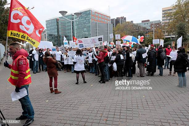 Employees of electronics company FagorBrandt a French subsidiary of the Spanish electrical appliance maker Fagor protest against the layoff of...