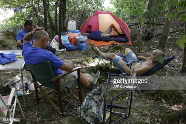 Employees of French auto parts manufacturer GMS threatened with liquidation set up a camp next to the site of their supplier Renault on July 18 2017...