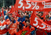 Employees of German car manufacturer Volkswagen take part in a warning strike in Chemnitz eastern Germany on May 2 2013 Powerful union IG Metall said...