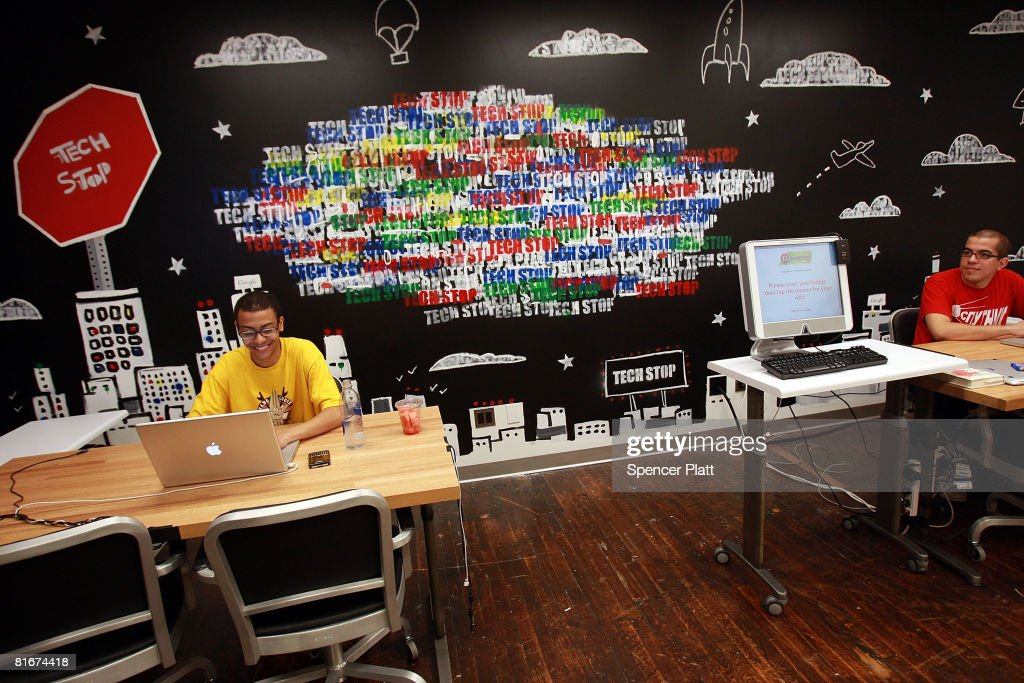 Employees of Google work at a 'tech stop' at the internet company's new office space inside historic Chelsea Market June 23 2008 in New York City The...