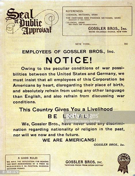 Employees of Gossler Bros Inc Notice Poster is printed on company letterhead and is text only urging all employees of the company to be Americans by...