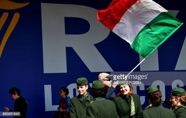 Employees of Italian air carrier Alitalia gather on March 20 during a protest rally at Rome's Fiumicino airport Air traffic in Italy is disrupted on...