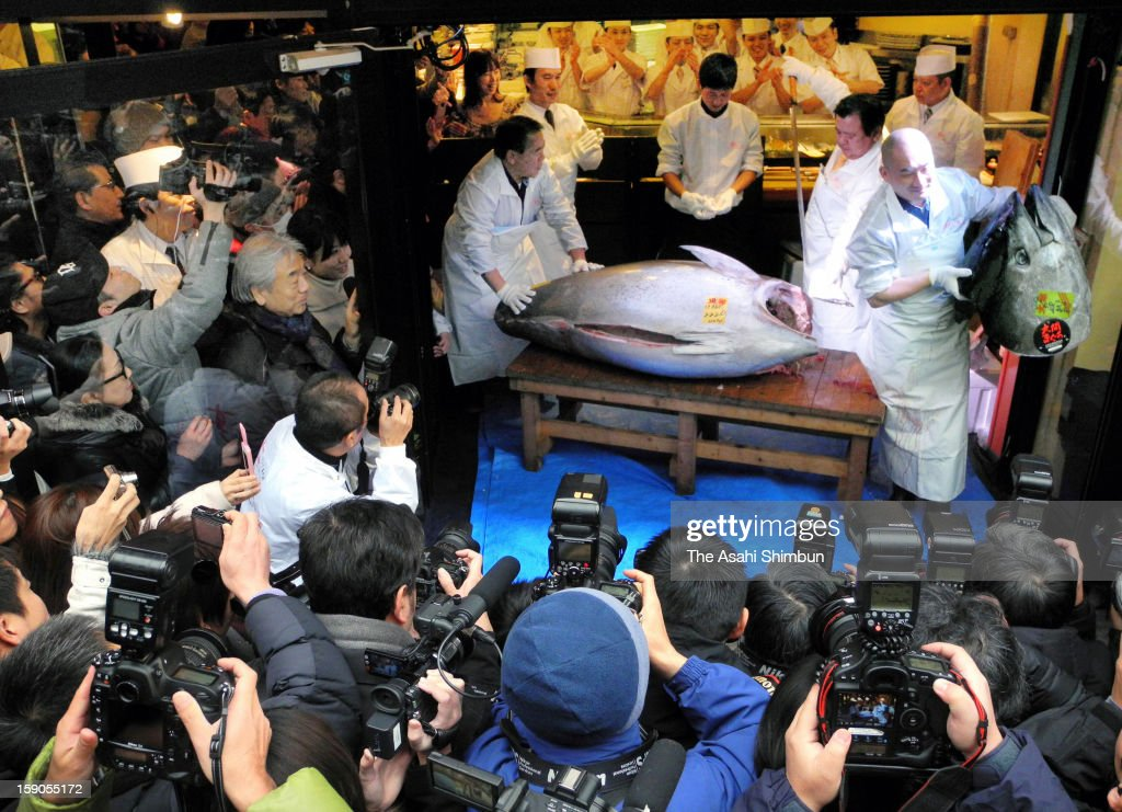 Employees of Japanese sushi restaurant chain Sushi-Zanmai process the 222-kilogram bluefin tuna, that was auctioned at 155.4 million Japanese yen (approximately 1.8 million U.S. Dollars) at the opening day of Tsukiji Wholesale Fish Market on January 5, 2013 in Tokyo, Japan. The price was as triple as last year's 56.5 million yen.