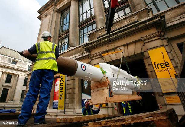 Employees of the company Unusual Rigging Ltd unload a large 'Bloodhound' missile which was used as a deterrent against Soviet attack in the Cold War...