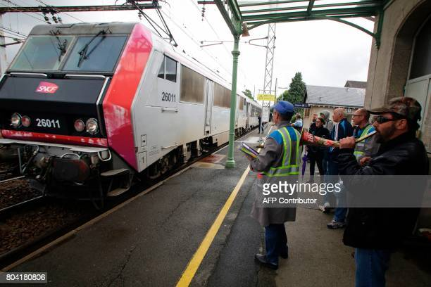 Employees of the GMS La Souterraine factory demonstrate at a train station on June 30 2017 in La Souterraine After months of strained negotiations...