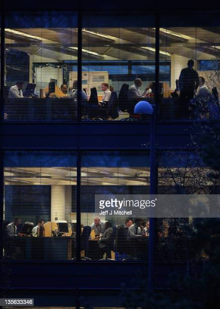 Employees of the Royal Bank of Scotland move around the company headquarters at Gogarburn on December 12 2011 in Edinburgh Scotland A Financial...