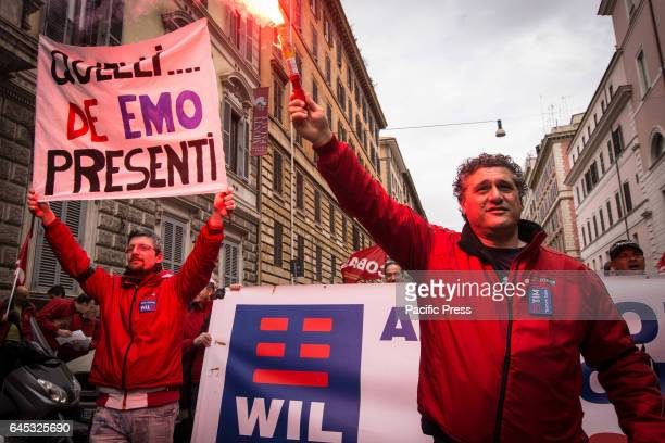 Employees of TIM an Italian brand owned by Telecom Italia that provides mobile fixed telephony and internet service hold a national strike to protest...