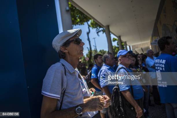 Employees protest against the privatization of the State's water and sewage utility outside Cia Esadual de Aguas e Esgotos headquarters in Rio de...