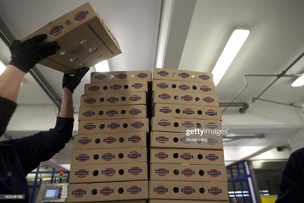Employees stack Fage-branded trays of Greek yoghurt during manufacture at the Fage Dairy Industry SA plant in Athens, Greece, on Thursday, Feb. 21, 2013. An October restructuring that placed Fage International SA's Greek units in a subsidiary called Fage Dairy Industry SA coincided with Coca-Cola Hellenic Bottling SA's plan to flee the epicenter of Europe's debt crisis by moving its main stock listing to London from Athens. Photographer: Kostas Tsironis/Bloomberg via Getty Images