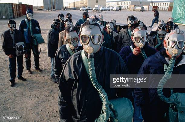 Employees undergoing H2S poison gas training at Chevron's Tengiz oil operation part of a joint venture between the United States Russia and Kazakhstan