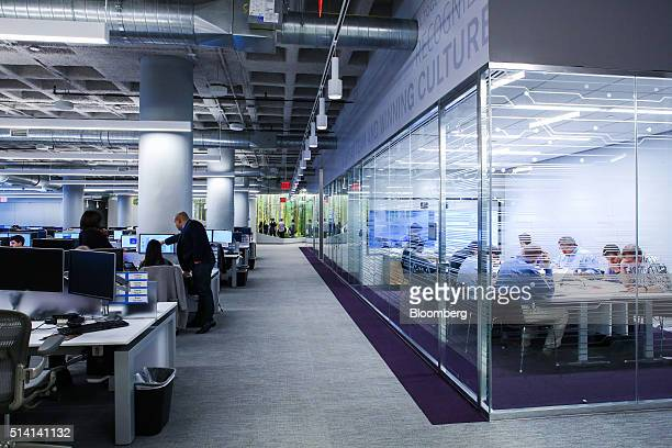 Employees work at JPMorgan Chase Co's new technology hub across the street from the Hudson Yards development on Manhattans West Side in New York US...