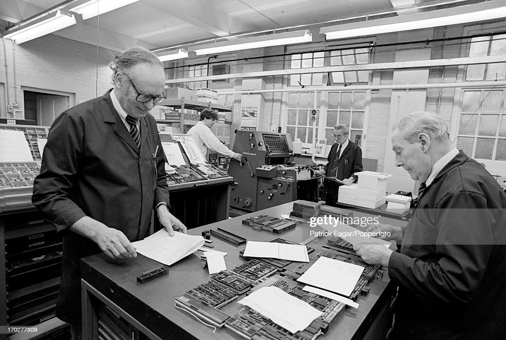 Employees work at the MCC printing shop at Lord's Cricket Ground on November 28, 1991 in London,England.