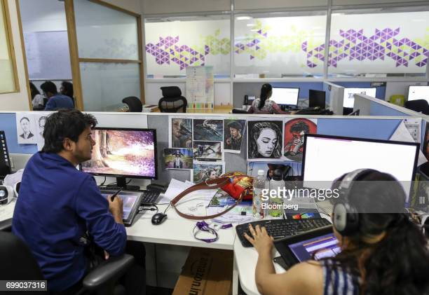 Employees work at the Think and Learn Pvt office in Bengaluru India on Wednesday April 5 2017 Online learning is exploding in India and no company is...