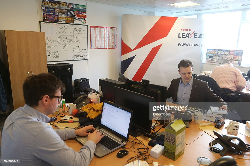Employees work at their desks inside the Leave.EU campaign headquarters, a party campaigning against Britain's membership of the European Union, in London, U.K., on Thursday, Feb. 11, 2016. Britain's economy could be thrown off track by the planned referendum on European Union membership, according to the Confederation for British Industry. Photographer: Chris Ratcliffe/Bloomberg via Getty Images