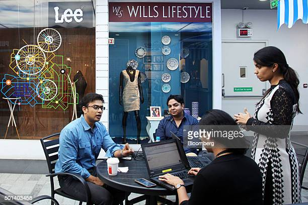 Employees work in a reception area at the office of Myntracom a unit of Flipkart Internet Services Pvt in Bangaluru India on Friday Dec 04 2015...