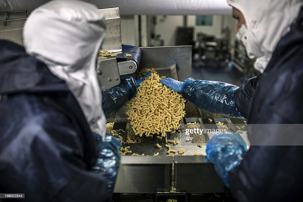 Employees work on on November 23, 2012 on the production line of French pasta manufacturer Lustucru at the Saint-Genis Laval plant. AFP PHOTO / JEFF PACHOUD