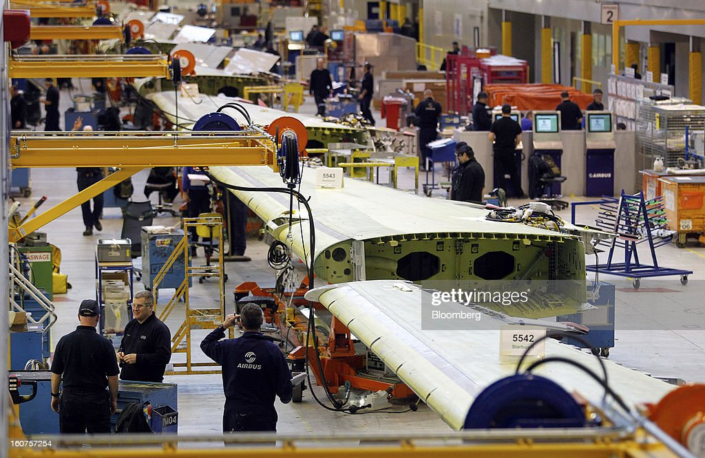 Employees work on the Airbus A320 wing assembly production line for single-aisle passenger aircraft at the company's factory in Broughton, U.K., on Monday, Feb. 4, 2013. Airbus SAS won a $9 billion order from Steven Udvar-Hazy's Air Lease Corp. that includes 25 A350 wide-body jets, a competitor to Boeing Co.'s grounded 787 Dreamliner. Photographer: Paul Thomas/Bloomberg via Getty Images