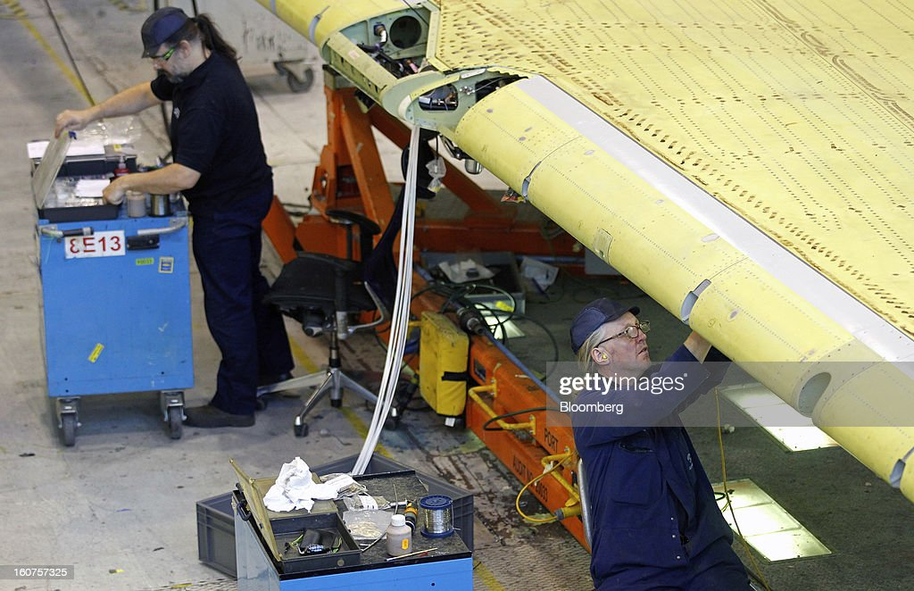 Employees work on the manufacture of an Airbus A320 single-aisle passenger aircraft wing at the company's factory in Broughton, U.K., on Monday, Feb. 4, 2013. Airbus SAS won a $9 billion order from Steven Udvar-Hazy's Air Lease Corp. that includes 25 A350 wide-body jets, a competitor to Boeing Co.'s grounded 787 Dreamliner. Photographer: Paul Thomas/Bloomberg via Getty Images