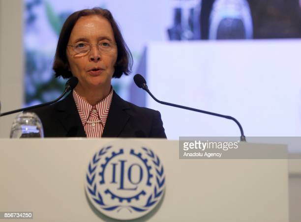 Employer spokesperson to the ILO Renate HornungDraus speaks during the 10th European Regional Meeting in Istanbul Turkey on October 2 2017