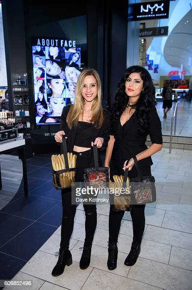 NYX employess pose at the NYX Professional Makeup Store Garden State Plaza Store Photos College Night on September 22 2016 in Paramus New Jersey