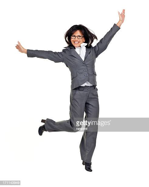 Employment & Jobs: Business Woman Jumping (Isolated)