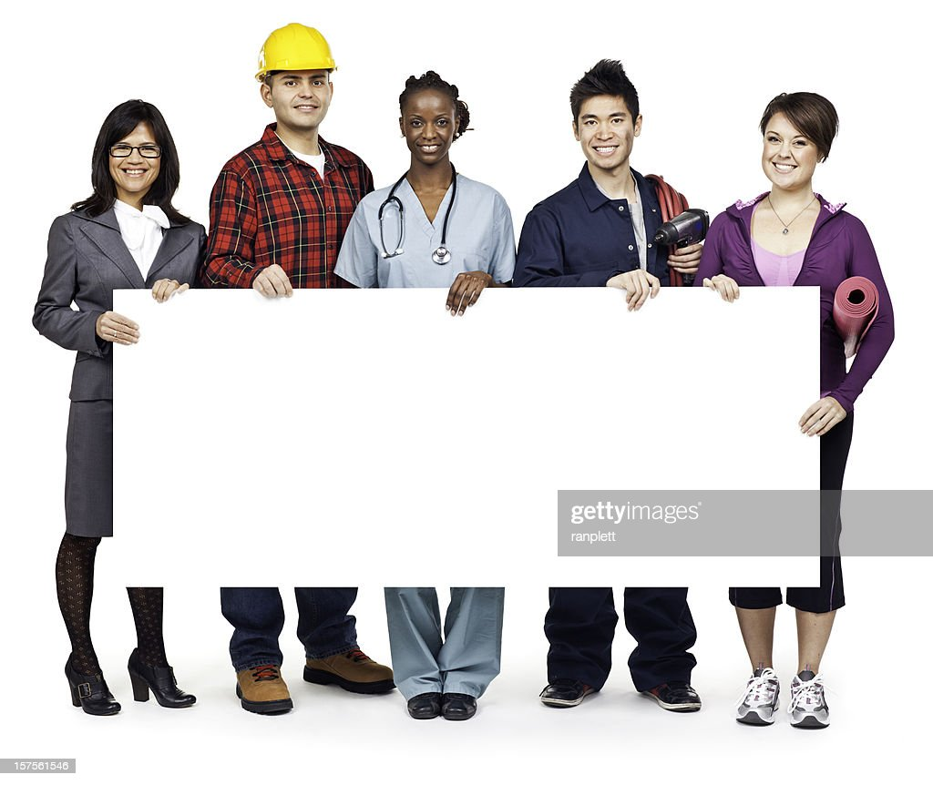 Employment & Jobs: Group Portrait with Blank Sign (Isolated; XXXL) : Stock Photo
