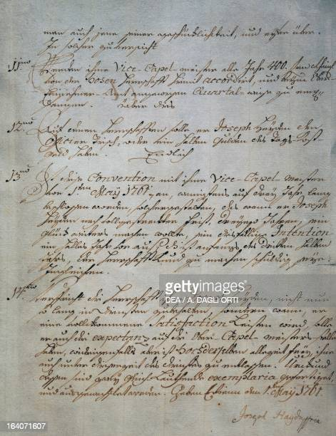 Employment contract as deputy Kapellmeister at the court of Esterhazy family signed by Franz Joseph Haydn Vienna May 1 1761 Budapest Szechenyi...