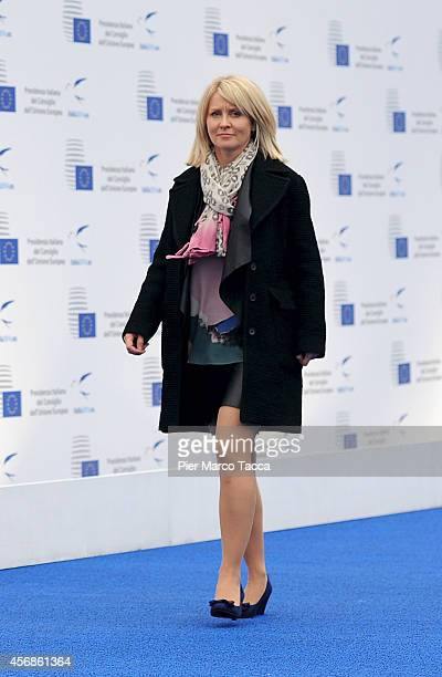 Employment Minister of UK Esther McVey arrives at the Conference on Employment in Europe on October 8 2014 in Milan Italy The summit is chaired by...