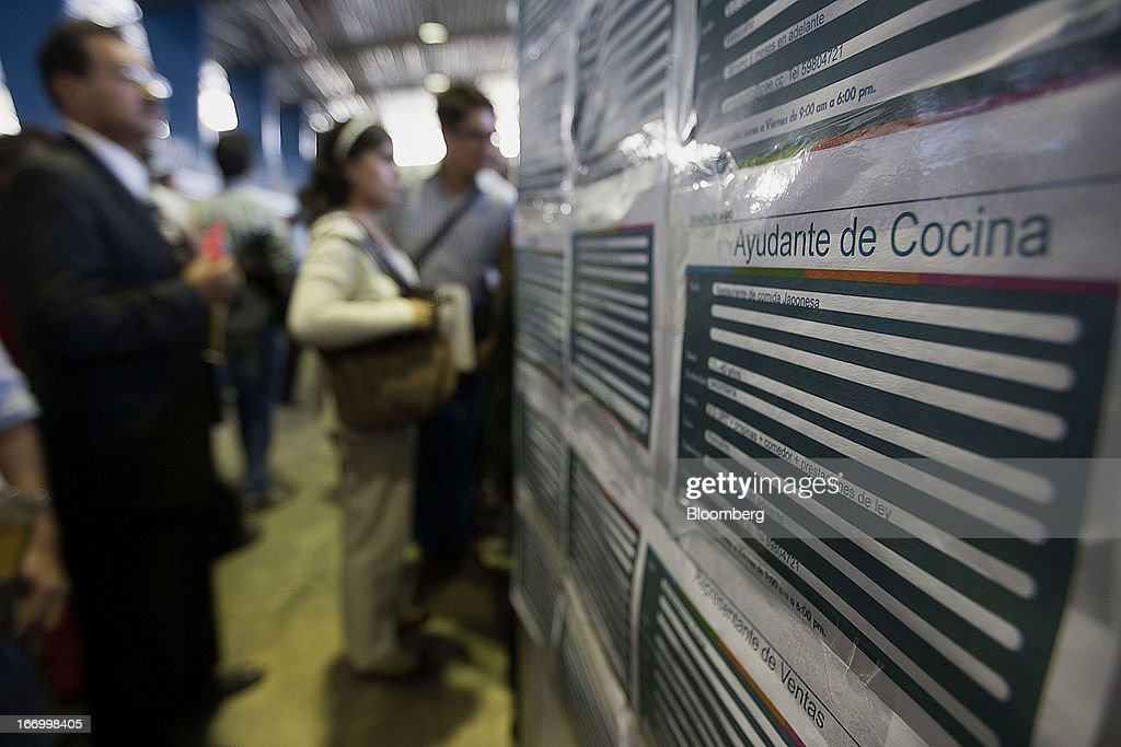 Employment opportunities are displayed during the XXVII job fair at the Palacio de los Deportes in Mexico City, Mexico, on Thursday, April 18, 2013. Mexico created 53,994 permanent and temporary urban jobs in March, according to reports from the Mexican Social Security Institute (IMSS). Photographer: Susana Gonzalez/Bloomberg via Getty Images