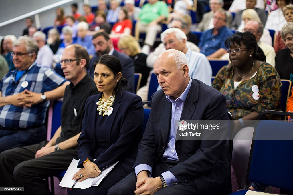 Employment Secretary <a gi-track='captionPersonalityLinkClicked' href=/galleries/search?phrase=Priti+Patel&family=editorial&specificpeople=7114708 ng-click='$event.stopPropagation()'>Priti Patel</a> (2nd R) and Former Work and Pensions Secretary <a gi-track='captionPersonalityLinkClicked' href=/galleries/search?phrase=Iain+Duncan+Smith&family=editorial&specificpeople=159312 ng-click='$event.stopPropagation()'>Iain Duncan Smith</a> (R) listen as Julian Brazier delivers a speech at Kent County Council on May 28, 2016 in Maidstone, England. Prominent members of the Conservative Party are campaigning on behalf of Vote Leave in Kent today, ahead of the EU referendum on June 23rd.