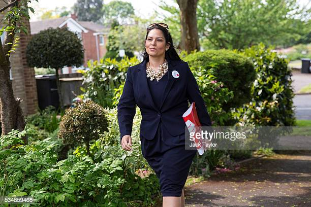 Employment Secretary Priti Patel canvassing on behalf of Vote Leave on May 28 2016 in Maidstone England Former Work and Pensions Secretary Iain...