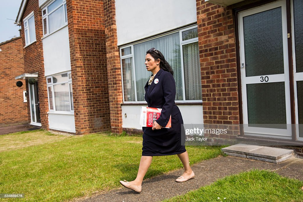 Employment Secretary <a gi-track='captionPersonalityLinkClicked' href=/galleries/search?phrase=Priti+Patel&family=editorial&specificpeople=7114708 ng-click='$event.stopPropagation()'>Priti Patel</a> canvassing on behalf of Vote Leave on May 28, 2016 in Maidstone, England. Former Work and Pensions Secretary Iain Duncan Smith and Employment Secretary <a gi-track='captionPersonalityLinkClicked' href=/galleries/search?phrase=Priti+Patel&family=editorial&specificpeople=7114708 ng-click='$event.stopPropagation()'>Priti Patel</a> are in Kent today campaigning for a vote to leave the European Union, ahead of the EU referendum on June 23rd.