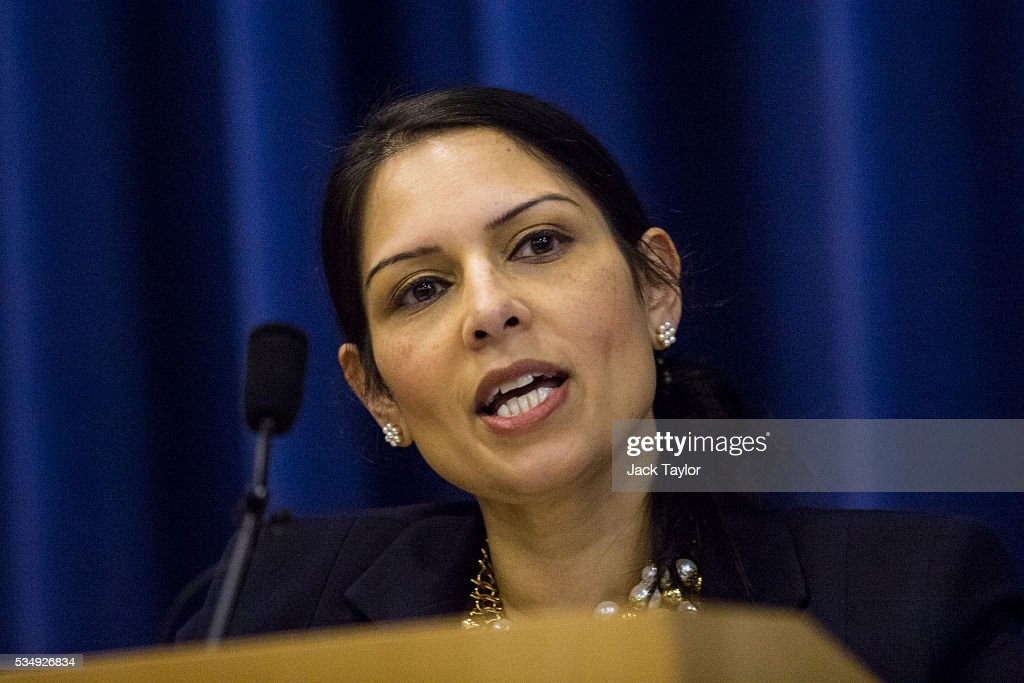 Employment Secretary <a gi-track='captionPersonalityLinkClicked' href=/galleries/search?phrase=Priti+Patel&family=editorial&specificpeople=7114708 ng-click='$event.stopPropagation()'>Priti Patel</a> delivers a speech at Kent County Council on May 28, 2016 in Maidstone, England. Prominent members of the Conservative Party are campaigning on behalf of Vote Leave in Kent today, ahead of the EU referendum on June 23rd.