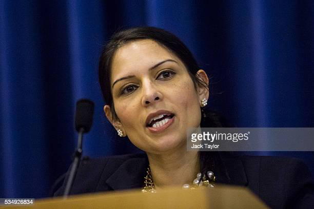 Employment Secretary Priti Patel delivers a speech at Kent County Council on May 28 2016 in Maidstone England Prominent members of the Conservative...