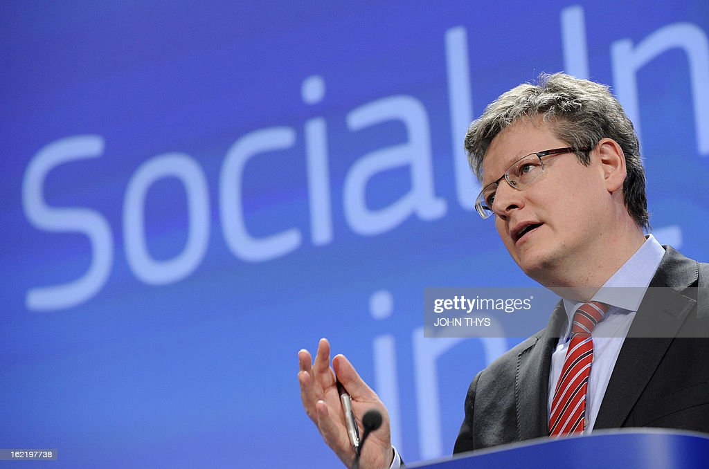 EU Employment Social Affairs and Equal Opportunities commissioner Laszlo Andor gives a press conference on February 20 2013 on the Social Investment...