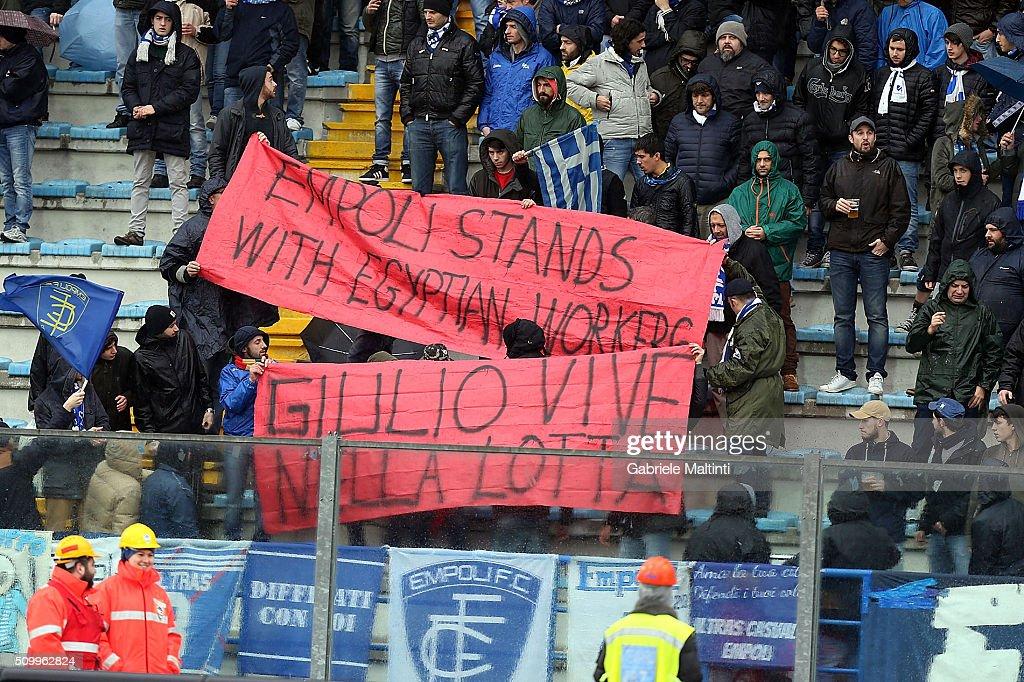 Empoli FC fans show banner in memory of Emilio Regeni killed in Egypt during the Serie A match between Empoli FC and Frosinone Calcio at Stadio Carlo Castellani on February 13, 2016 in Empoli, Italy.