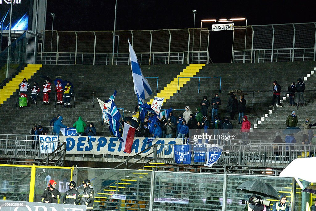 Empoli FC fans shows their support during the Serie A match between Atalanta BC and Empoli FC at Stadio Atleti Azzurri d'Italia on February 7, 2016 in Bergamo, Italy.