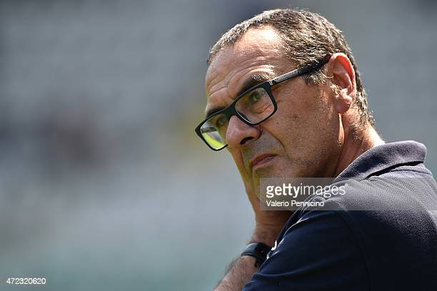Empoli FC head coach Maurizio Sarri looks on prior to the Serie A match between Torino FC and Empoli FC at Stadio Olimpico di Torino on May 6 2015 in...