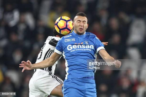 Empoli midfielder Omar El Kaddouri heads the ball during the Serie A football match n26 JUVENTUS EMPOLI on at the Juventus Stadium in Turin Italy