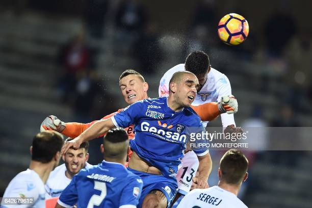 Empoli's goalkeeper from Poland Lukasz Skorupski makes a save during the italian Serie A football match Empoli vs Lazio at the Castellani Stadium in...
