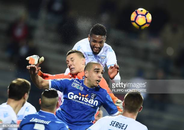 Empoli's goalkeeper from Poland Lukasz Skorupski vies with Lazio's defender from Brasil Wallace during the italian Serie A football match Empoli vs...