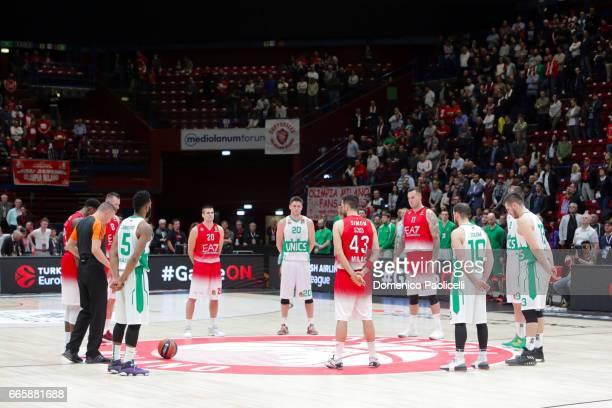 Emporio Armani Milan team and Unics Kazan team during the 2016/2017 Turkish Airlines EuroLeague Regular Season Round 30 game between EA7 Emporio...