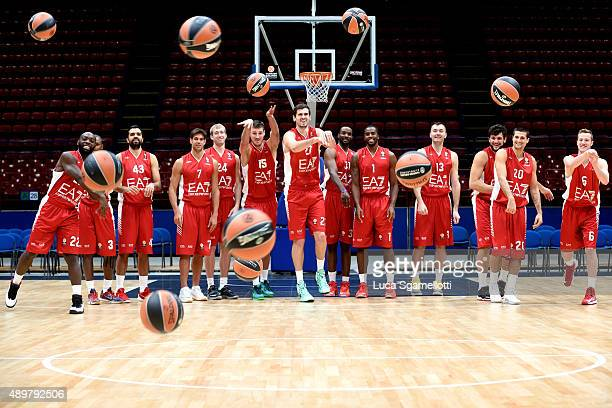 Emporio Armani Milan Team poses during the 2015/2016 Turkish Airlines Euroleague Basketball Media Day at Mediolanumforum on September 23 2015 in...