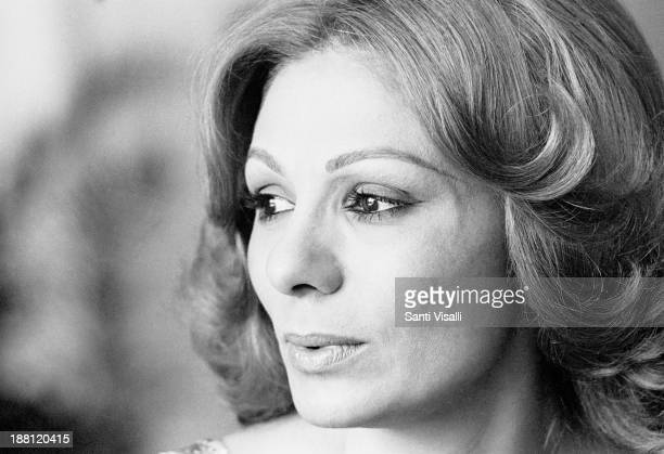 Empress Farah Diba posing for a portrait on June 10 1977 in Tehran Iran