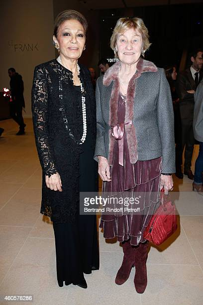 HIH Empress Farah Pahlavi and Marisa Bruni Tedeschi attend the 'Fondation Claude Pompidou' Charity Party at Fondation Louis Vuitton on December 16...