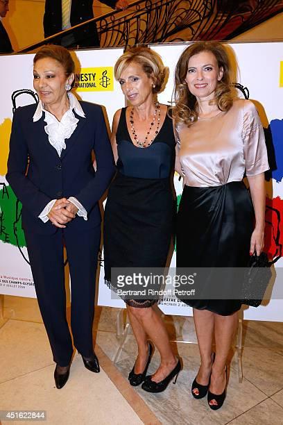 Empress Farah Pahlavi President of Amnesty International France Genevieve Garrigos and Journalist Valerie Trierweiler attend the '20th Amnesty...