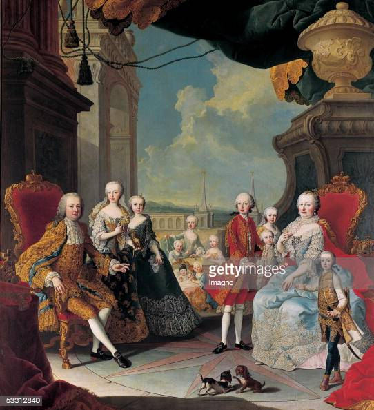 Empress Maria Theresia Franz I and their 11 children on the terrace of Schoenbrunn castle Oil on canvas by Martin van Meytens Around 1754 [Kaiserin...