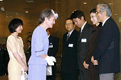 Empress Michiko and Princess sayako talk with actors on arrival at the Yurakucho Asahi Hall to attend the movie 'TaiganoItteki' on August 5 2001 in...