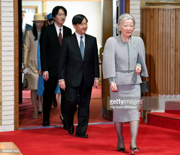 Empress Michiko Crown Prince Naruhito Prince Akishino attend a concert by music college graduates at the Imperial Palace on March 22 2017 in Tokyo...